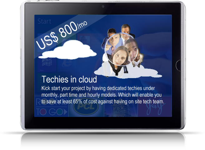 Techie in cloud
